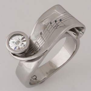 'Krysia's Never ending story' Handmade ladies palladium ring with a 'Spirit' cut diamond