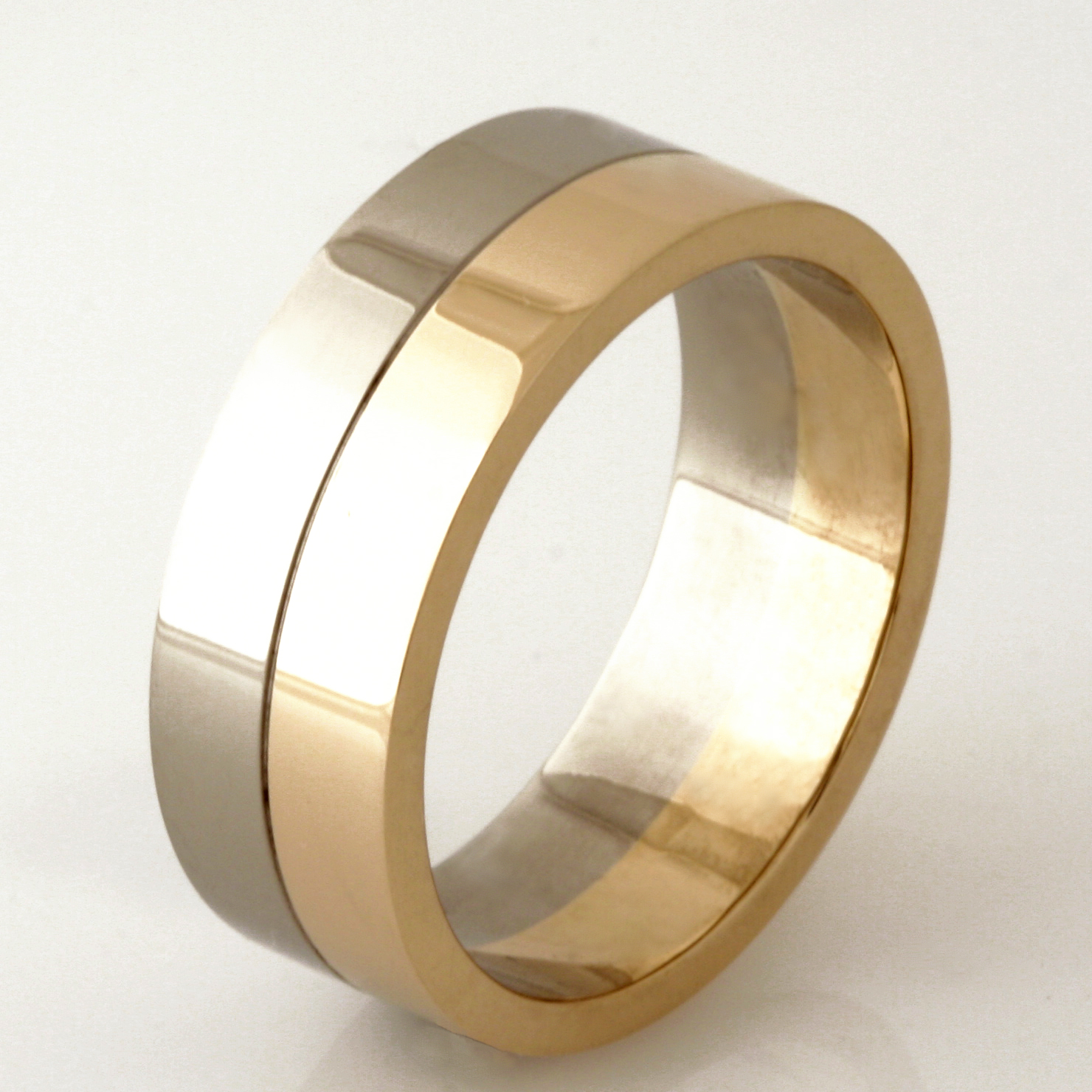 Handmade gents 9ct yellow and white gold wedding ring