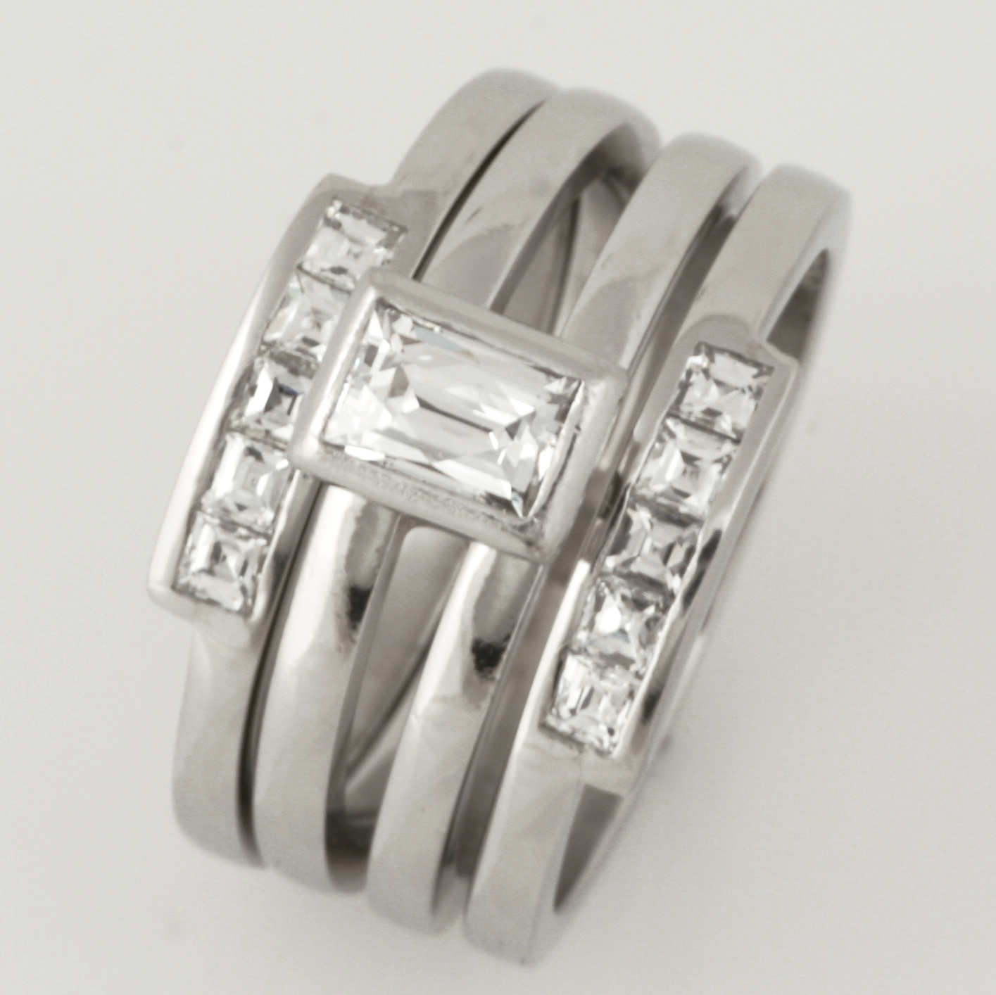 Handmade ladies platinum Engagement, Wedding and Eternity ring set featuring 'Tycoon' cut diamonds