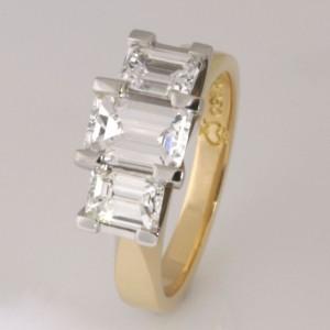 Handmade ladies 18ct yellow gold and palladium emerald cut diamond ring