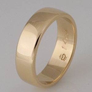 Handmade 14ct yellow gold gents wedding ring