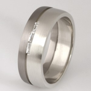 Handmade gents 9ct white gold and 18ct white gold baguette diamond wedding ring