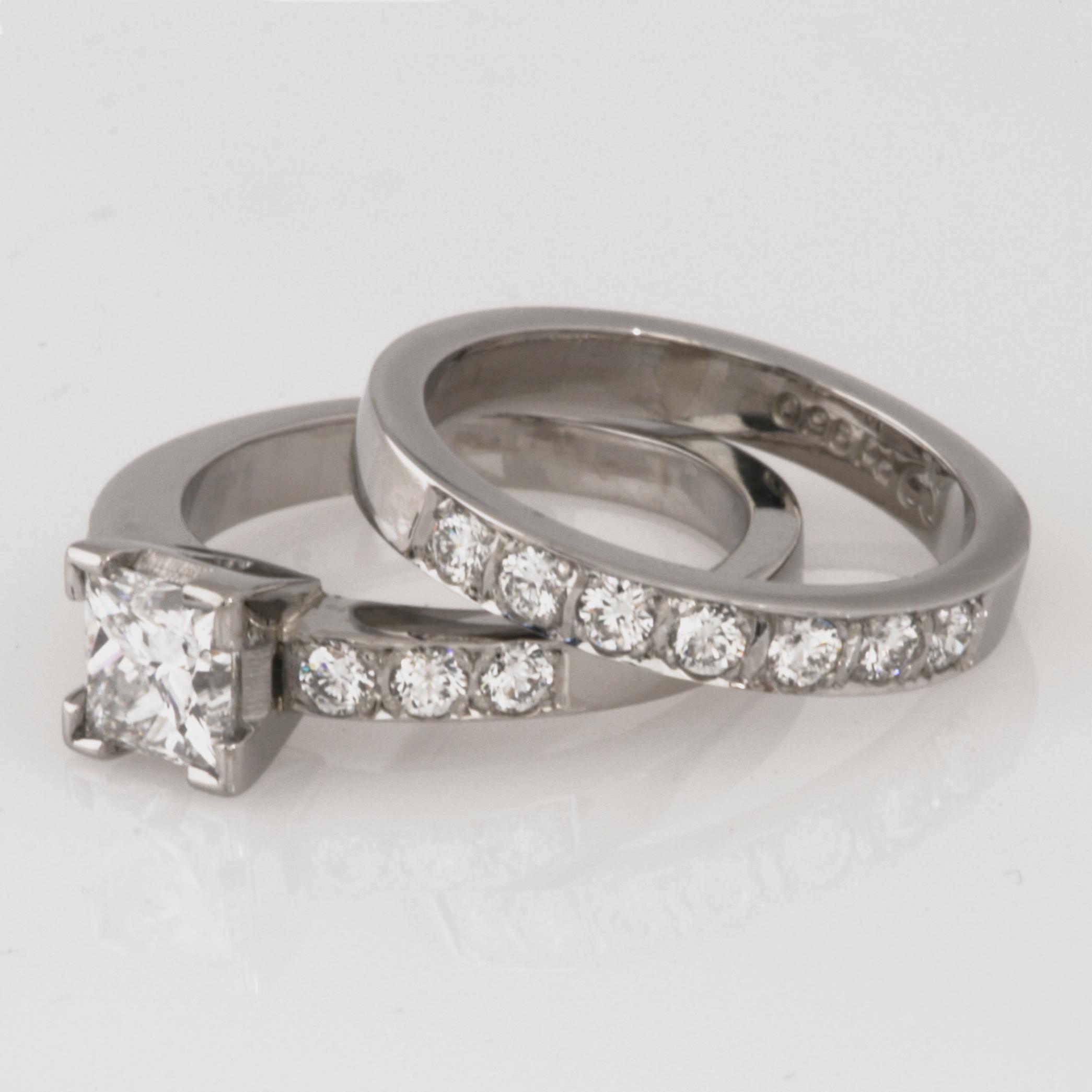 Handmade ladies palladium brilliant cut diamond wedding ring set