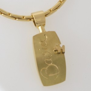 Handmade ladies 18ct yellow gold puzzle pendant on a 18ct yellow gold chain
