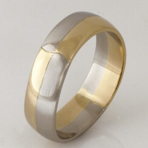 Handmade gents 14ct yellow gold and palladium wedding ring