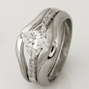 Handmade ladies palladium split wedding and engagement ring set