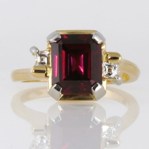 Handmade ladies 18ct yellow gold and palladium rhodolite garnet and 'Tycoon' cut diamond ring