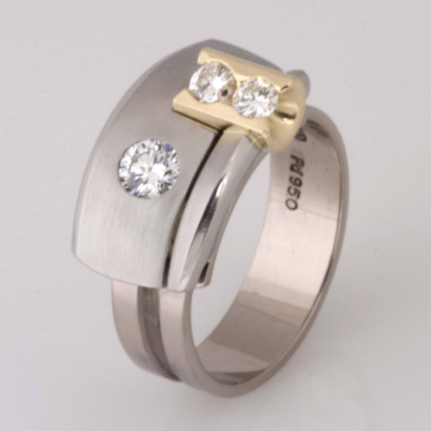 Handmade 'Archie' style 18ct white and yellow gold and palladium diamond ring