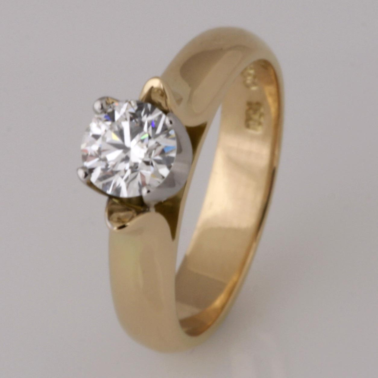 Handmade 18ct yellow gold and palladium 'Eightstar' diamond engagement ring