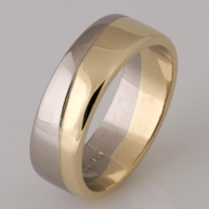 Handmade gents 18ct white gold and 14ct yellow gold wedding ring