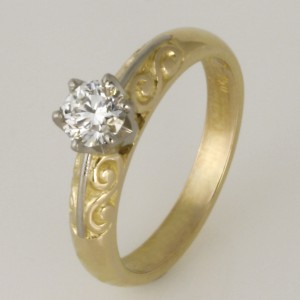 Handmade ladies 18ct yellow and white gold and diamond ring
