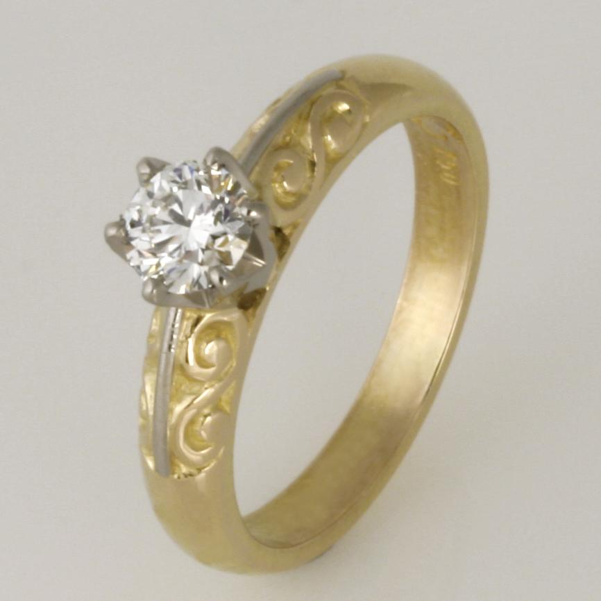 Handmade ladies 18ct yellow and white gold and diamond ring