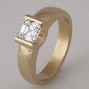 Handmade 18ct yellow gold ladies square emerald cut diamond engagement ring