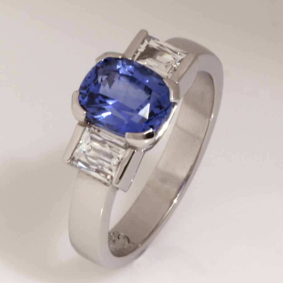 Handmade ladies blue Ceylon Sapphire and 'Tycoon' cut diamond ring