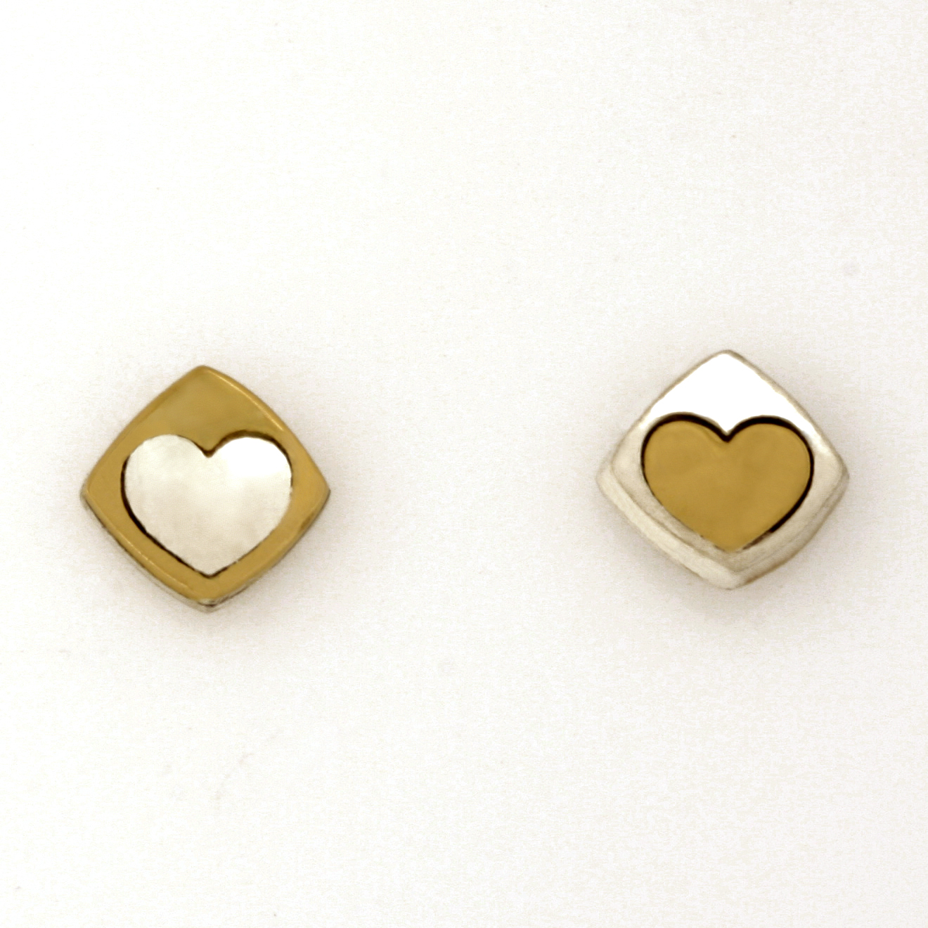 Sterling silver and 18ct yellow gold 'Play' heart earrings