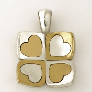Sterling silver and 18ct yelow gold Play heart pendant