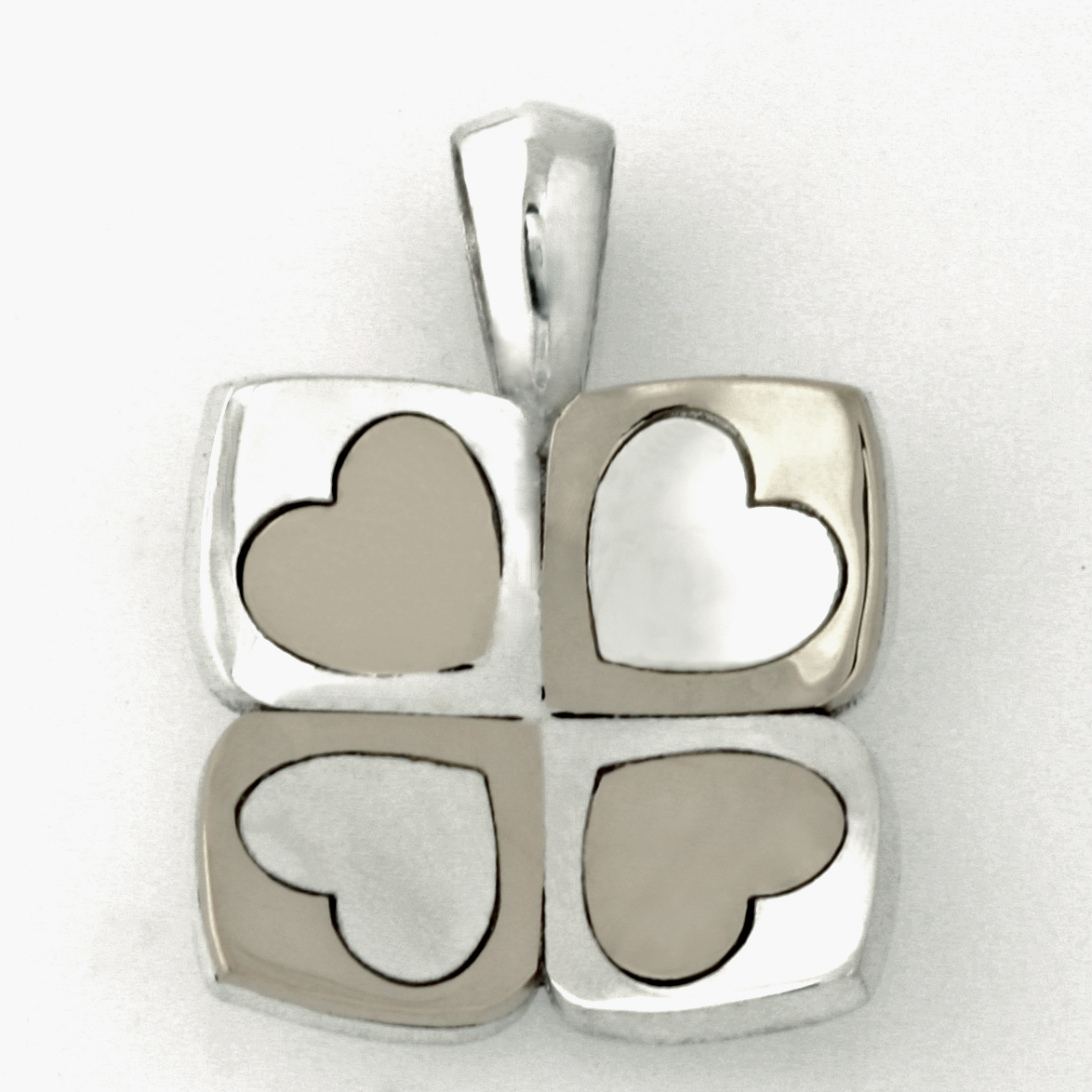 Sterling silver and palladium 'Play' heart pendant