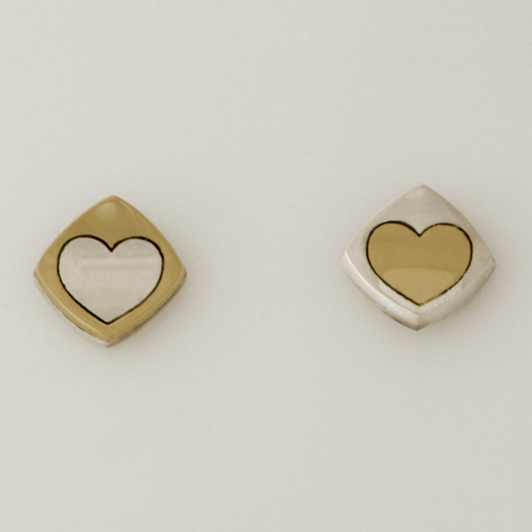 'PLAY' heart earrings made in sterling silver and 14ct yellow gold