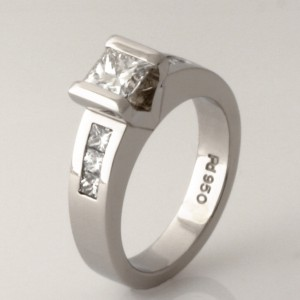 Handmade ladies palladium 'Eternity' princess cut diamond engagement ring