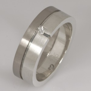 Handmade gents 9ct and 18ct white gold diamond wedding ring