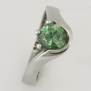 Handmade ladies palladium demantoid garnet engagement ring