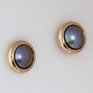 14ct yellow gold pearl stud earrings