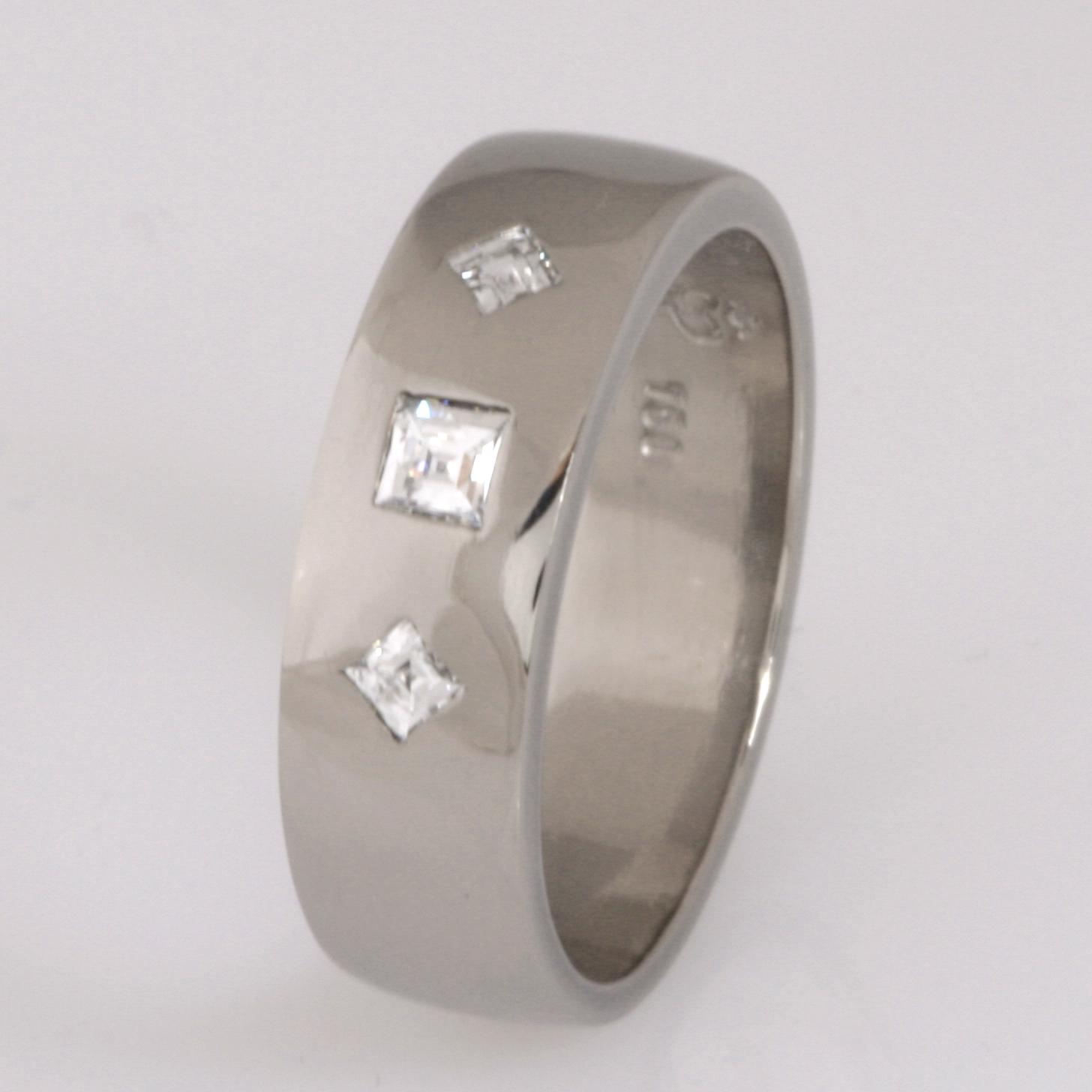 Handmade ladies18ct white gold 'Tycoon' cut diamond wedding ring