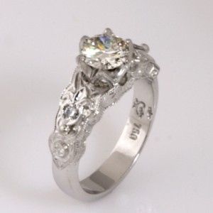 Handmade ladies 18ct white gold old cut diamond ring