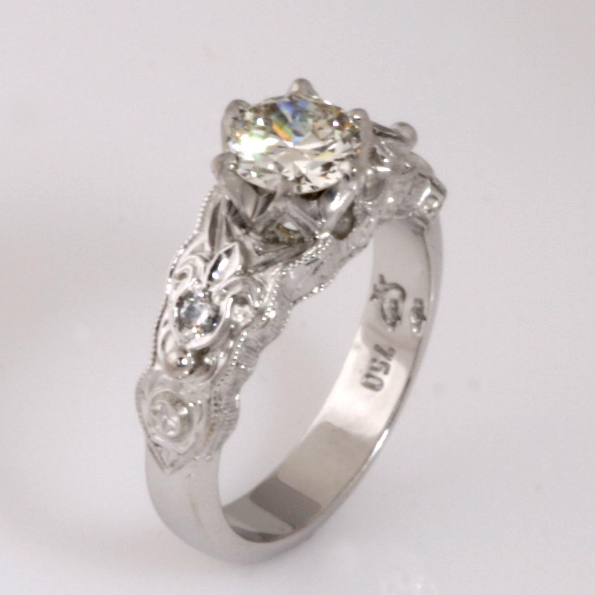 Handmade ladies 18ct white gold old cut diamond ring