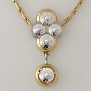 Handmade Ladies 18ct yellow gold and platinum 'Spirit' cut diamond pendant on an 18ct yellow gold chain