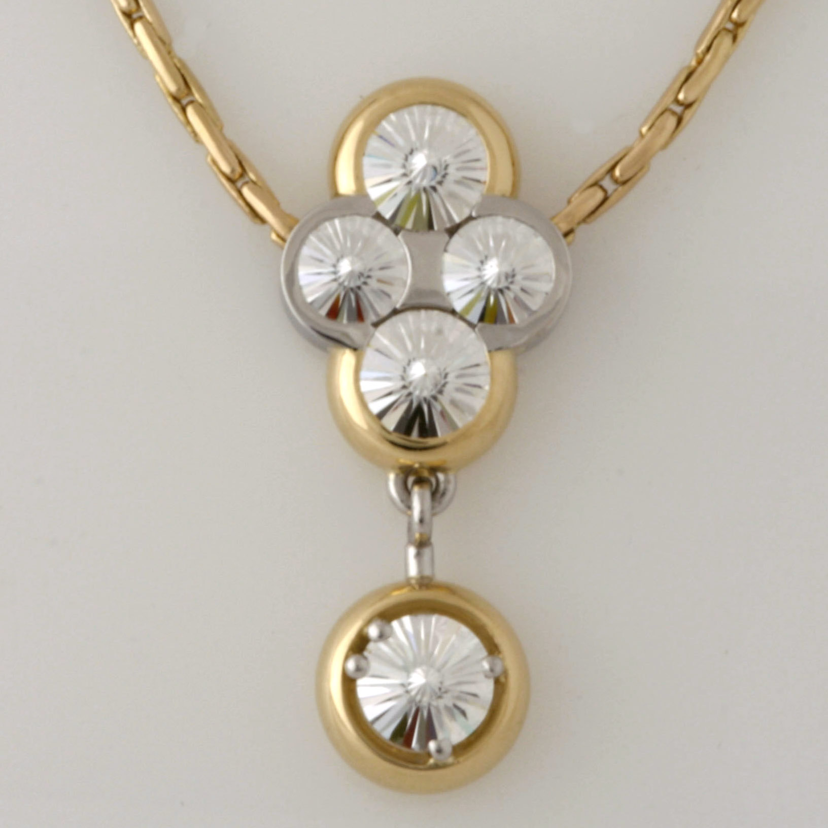 Handmade Ladies 18ct yellow gold and platinum 'Spirit' cut diamond pendant on an 18ct yellow gold chain
