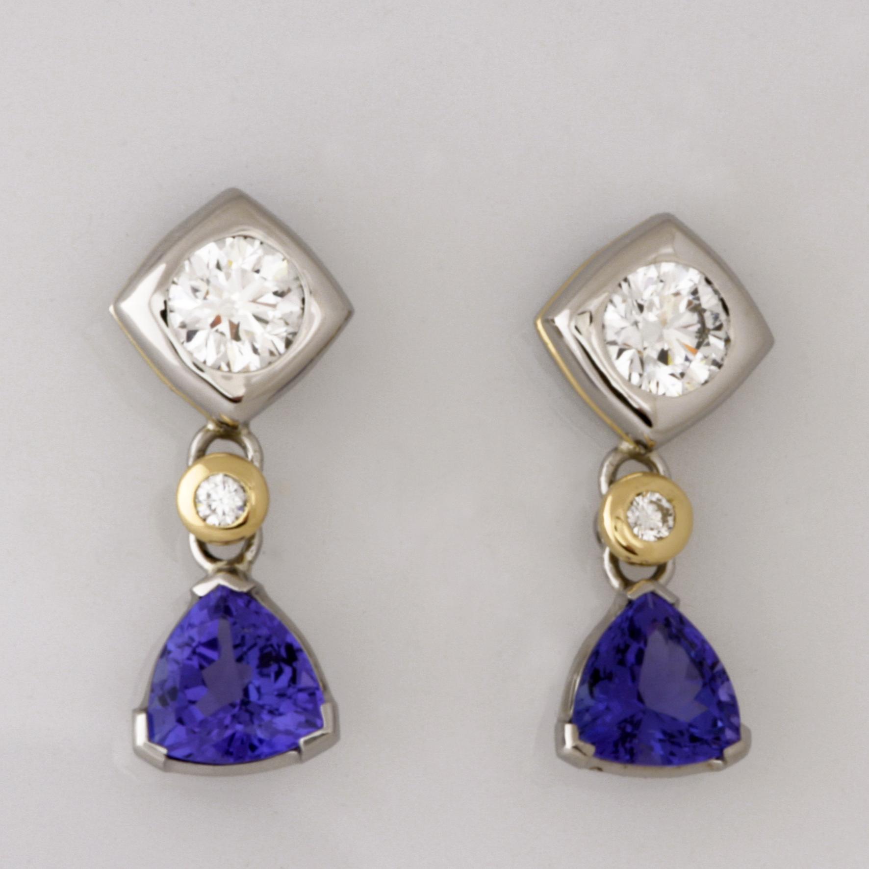 Handmade ladies 18ct yellow gold and palladium tanzanite and diamond earrings