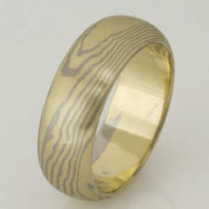 Handmade gents 18ct green and white gold Mokume Gane wedding ring.