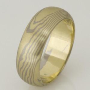 Handmade gents 18ct green and white gold Mokume Gane wedding ring.