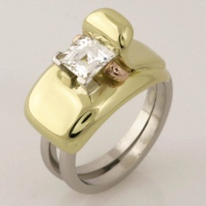 Handmade ladies platinum and 18ct green and rose gold 'Tycoon' cut diamond ring
