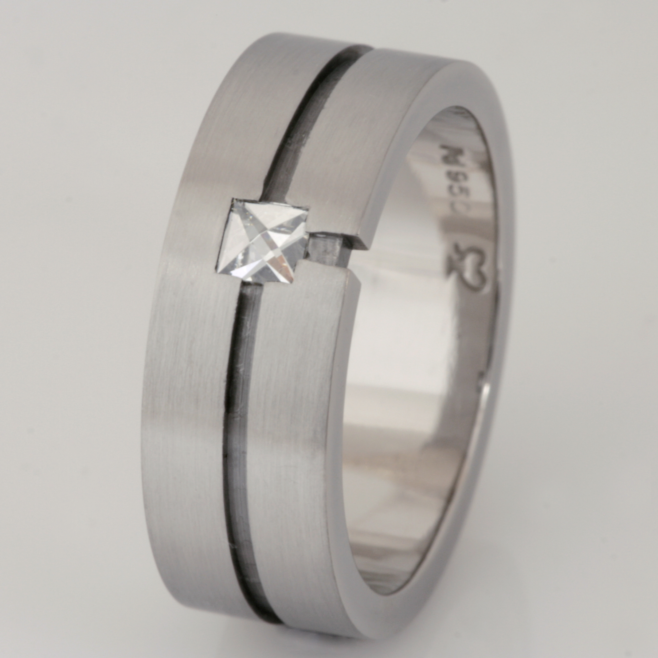 Handmade gents palladium 'Context' cut diamond wedding ring