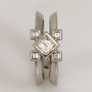 Handmade ladies palladium 'Tycoon' cut diamond engagement ring