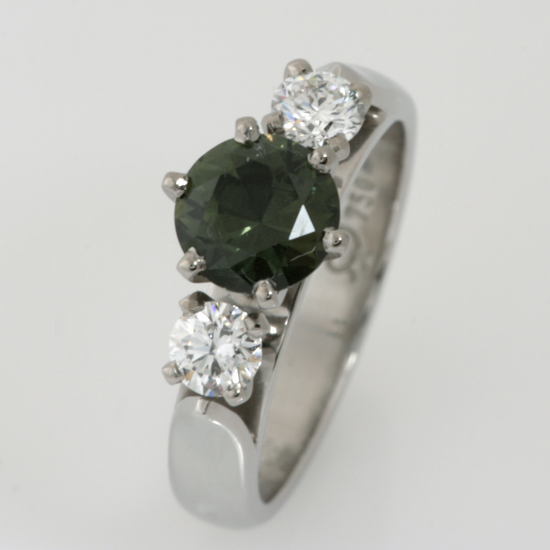 Handmade ladies 18ct white gold and palladium dark green sapphire and diamond ring