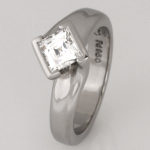 Handmade ladies palladium 'Tycoon' cut diamond engagement ring.