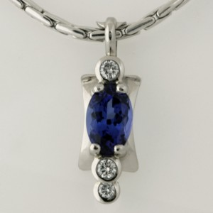 Handmade ladies palladium Tanzanite and diamond pendant