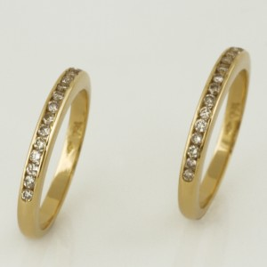 Handmade ladies 18ct yellow gold diamond wedding ring set