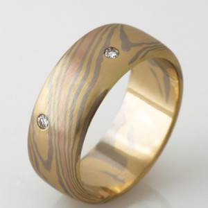 Handmade gents 18ct yellow, white and rose gold 'Mokume Gane' diamond wedding ring