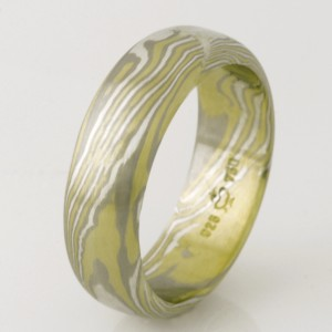 Handmade gents 18ct white & green gold and sterling silver mokume gane wedding ring