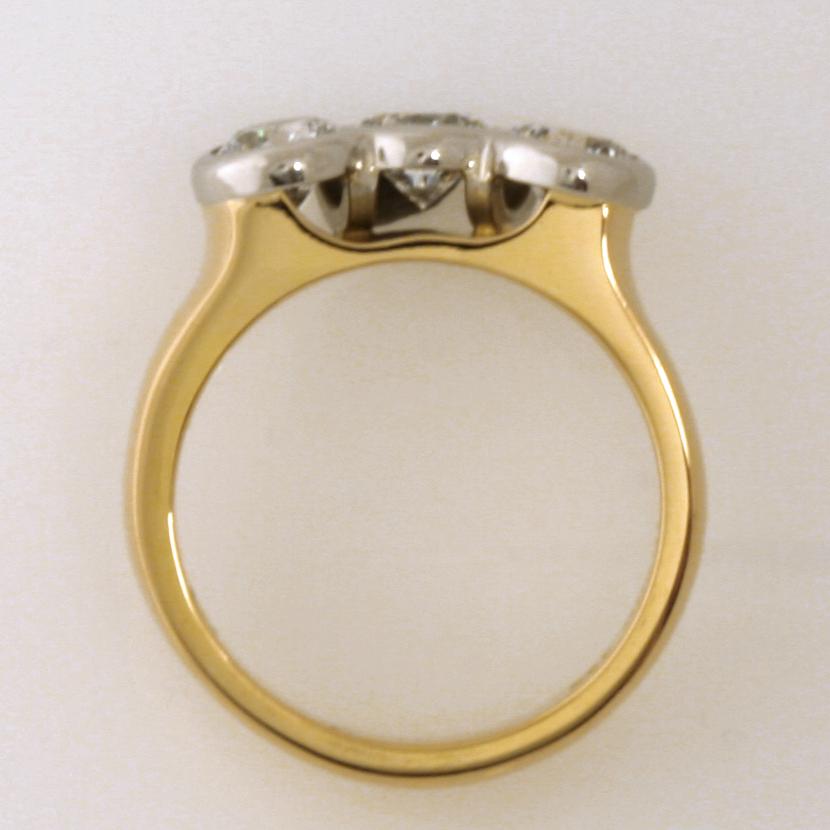 Handmade ladies 18ct yellow gold and palladium diamond eternity ring