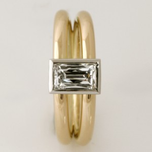 Handmade ladies 18ct yellow gold and palladium 'Tycoon' cut diamond ring