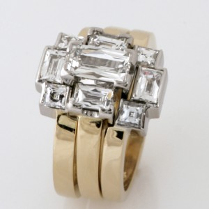 Handmade ladies 18ct yellow gold and palladium 'Tycoon' cut diamond engagement, wedding and eternity ring set