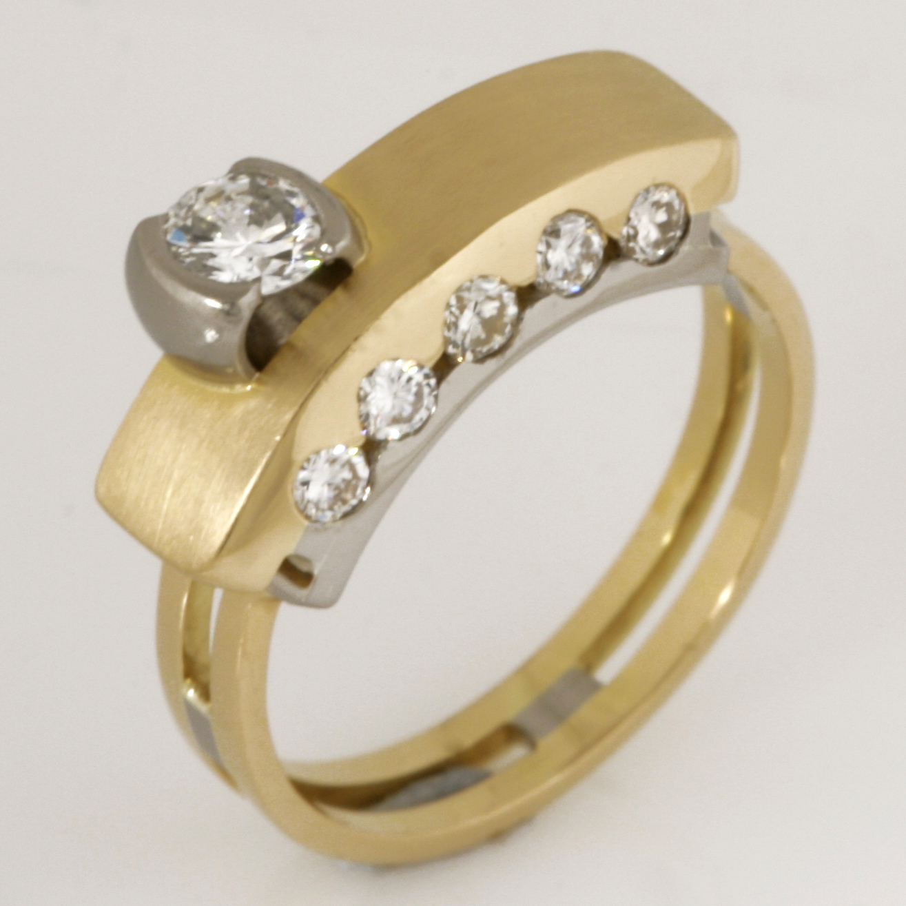 Handmade ladies yellow gold diamond 'Archie' style ring