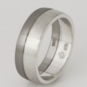 Handmade gents 9ct and 18ct white gold wedding ring