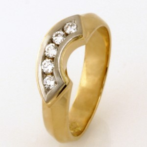 Handmade ladies 18ct yellow gold and palladium diamond eternity ring