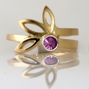 Handmade ladies 18ct yellow gold pink 'Spirit' cut sapphire ring